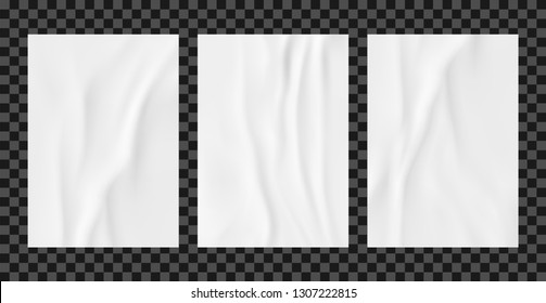 White wrinkled poster template set. Glued paper vector mockup.
