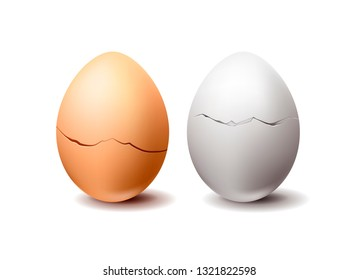 White and wrown realistic vector chicken eggs with crack isolated on white background