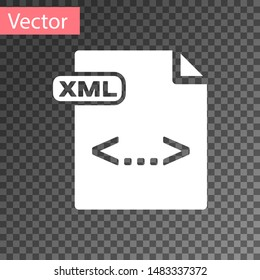 White XML file document. Download xml button icon isolated on transparent background. XML file symbol.  Vector Illustration