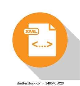White XML file document. Download xml button icon isolated on white background. XML file symbol. Orange circle button. Vector Illustration