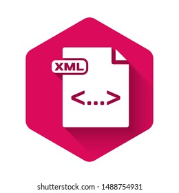 White XML file document. Download xml button icon isolated with long shadow. XML file symbol. Pink hexagon button. Vector Illustration