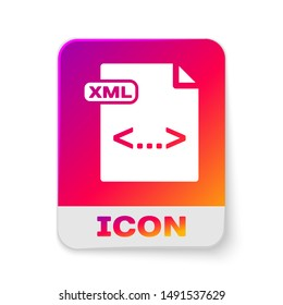White XML file document. Download xml button icon isolated on white background. XML file symbol. Rectangle color button. Vector Illustration