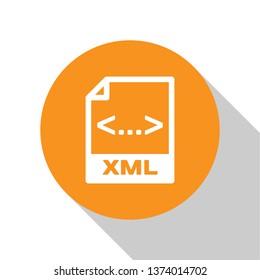 White XML file document icon. Download xml button icon isolated on white background. XML file symbol. Orange circle button. Vector Illustration