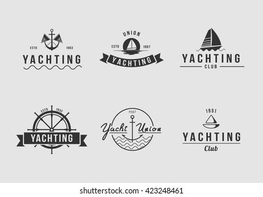 White yachting logo set