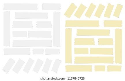 White and yellow adhesive, sticky, masking, duct tape for text on white background