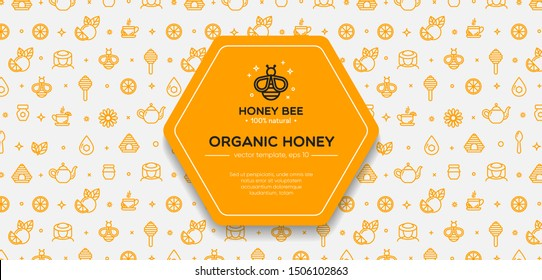 White and yellow banner template with honey, bee, honeycomb. Design element, outline set, icons of honey symbols. Honey market badge. Beekeeping. Vector illustration, eps 10.