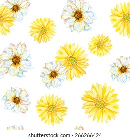 White and yellow daisies on the white background. Watercolor seamless pattern with flowers.