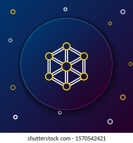 White and yellow line Blockchain technology icon isolated on dark blue background. Cryptocurrency data. Abstract geometric block chain network technology business. Colorful outline concept. Vector