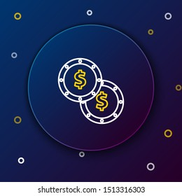 White and yellow line Coin money with dollar symbol icon isolated on dark blue background. Banking currency sign. Cash symbol. Colorful outline concept. Vector Illustration