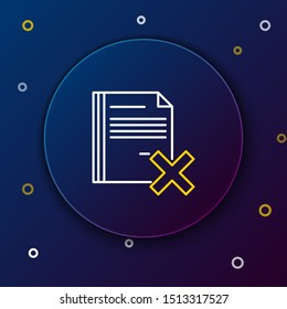 White and yellow line Delete file document icon isolated on dark blue background. Rejected document icon. Cross on paper. Colorful outline concept. Vector Illustration