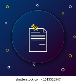 White and yellow line Note paper with pinned pushbutton icon isolated on dark blue background. Memo paper sign. Colorful outline concept. Vector Illustration