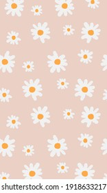 white and yellow seamless flowers texture pattern design, Seamless repeat pattern with flowers and leaves in white and yellow on pink background. Hand drawn fabric, gift wrap, wall art design.