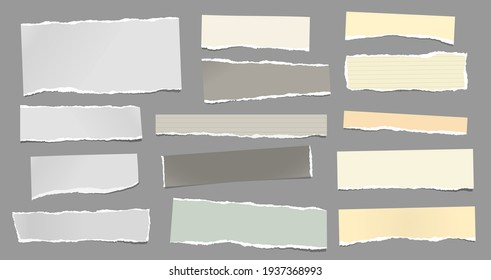 White, yellow torn note, notebook paper pieces are on dark grey background for text, advertising or design. Vector illustration