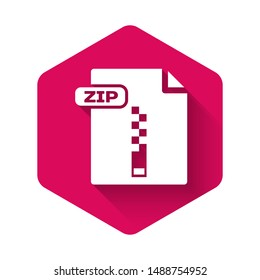 White ZIP file document. Download zip button icon isolated with long shadow. ZIP file symbol. Pink hexagon button. Vector Illustration