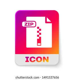 White ZIP file document. Download zip button icon isolated on white background. ZIP file symbol. Rectangle color button. Vector Illustration