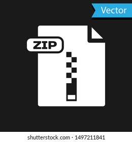 White ZIP file document. Download zip button icon isolated on black background. ZIP file symbol.  Vector Illustration