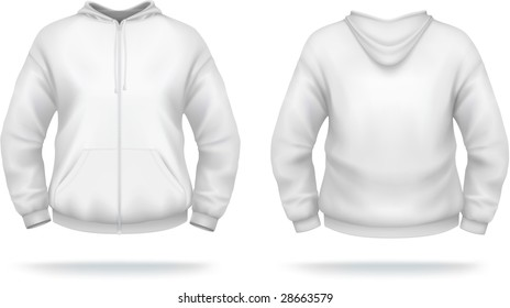 White zipper hoodie with front pocket. VECTOR, contains gradient mesh elements. More clothing designs in my portfolio!