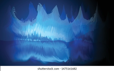 White-blue-blue ice cave is a fantasy image.