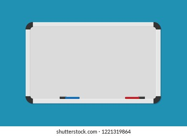 Whiteboard background frame with marker. Vector illustration in flat style.