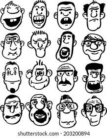 whiteboard drawing - big set of doodle faces