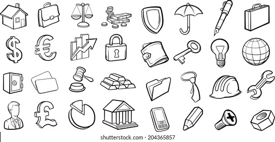 whiteboard drawing - business and finance icons collection