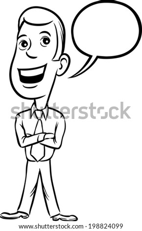 Whiteboard Drawing Businessman Cheerful Standing Talking Stock
