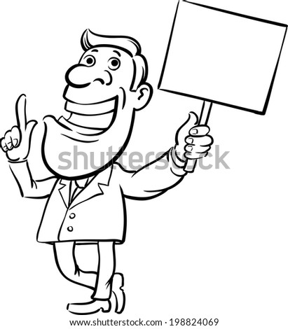 Whiteboard Drawing Businessman Sign Speaking Easyedit Stock Vector