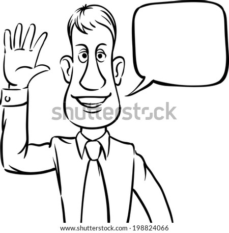 Whiteboard Drawing Businessman Speech Bubble Greeting Stock Vector