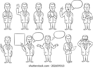 whiteboard drawing - businessman in suit collection