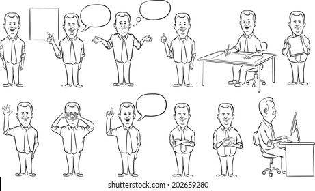 whiteboard drawing - businessman working figures collection