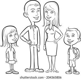 whiteboard drawing - cartoon family