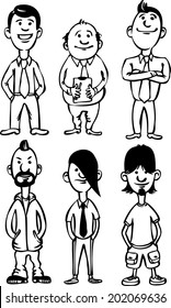 whiteboard drawing - cartoon figures of office people and freaks