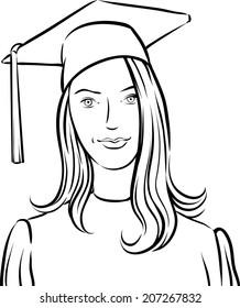 whiteboard drawing - graduate girl