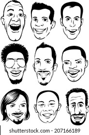 whiteboard drawing - happy men faces set