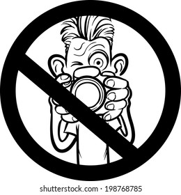 whiteboard drawing - No photography allowed sign with cartoon photographer character. Easy-edit layered vector EPS10 file scalable to any size without quality loss.