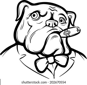whiteboard drawing - Old English Bulldog with Cigar