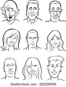 whiteboard drawing - people faces collection