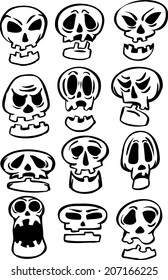 whiteboard drawing - set of cartoon skulls