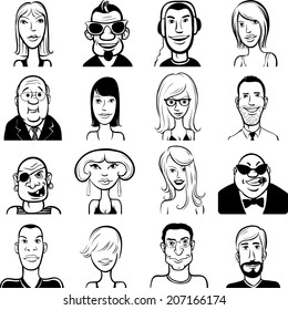 whiteboard drawing - set of various doodle faces