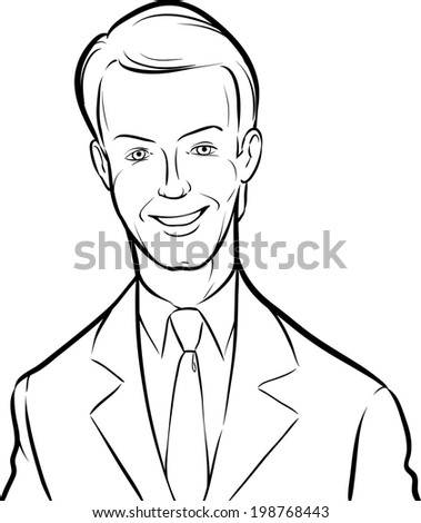 Whiteboard Drawing Smiling Handsome Businessman Easyedit Stock