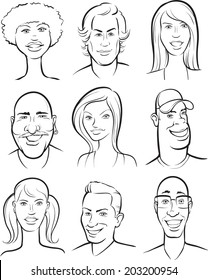 whiteboard drawing - smiling people faces collection