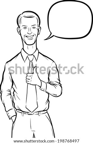 Whiteboard Drawing Standing Businessman Thumbs Up Stock Vector