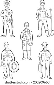 whiteboard drawing - standing men of various occupations