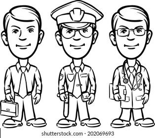 whiteboard drawing - three cartoon professionals businessman policeman doctor