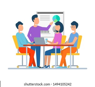 Whiteboard with information, man talking about project showing details teaching people sitting by table using laptops and new technologies. Business teamwork. Vector illustration in flat cartoon style