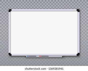 Whiteboard for markers on transparent background. Office board. Vector illustration
