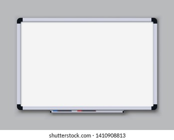 Whiteboard for markers on transparent background. Office board. Vector