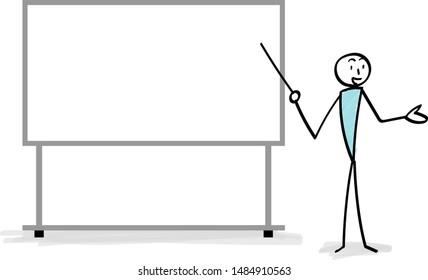 Whiteboard and person explaining illustration