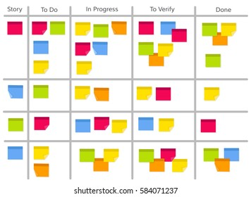Whiteboard with post it notes for agile software development. Hanging scrum task kanban board with sticky notes with tasks for team work and visual management. Flat style EPS10 vector illustration.