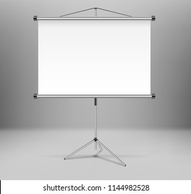 Whiteboard projector presentation screen isolated. White empty screen stand on tripod in room. vector illustration.
